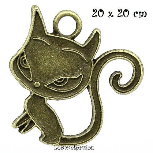 Bronze 20 x 20 mm LOT de 4 061 CHARM // BRELOQUE // PENDENTIF CHAT