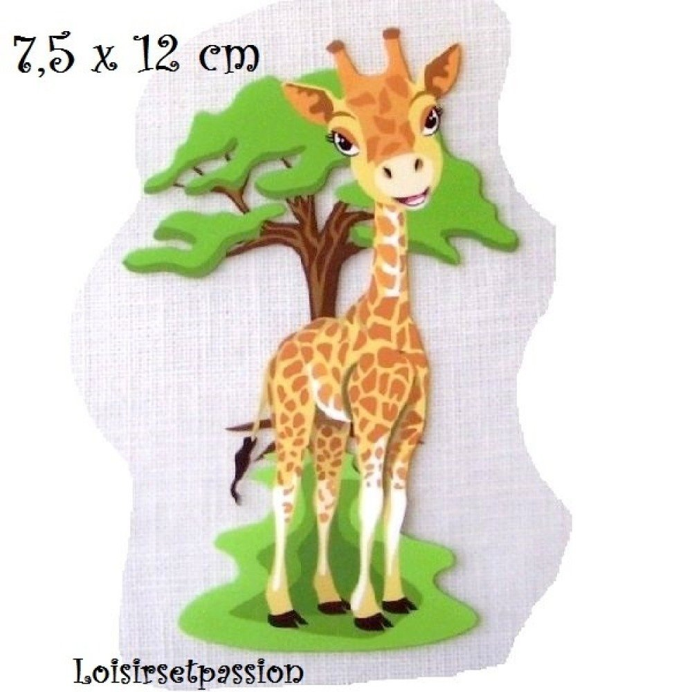 Patch Applique, Dessin Transfert thermocollant, ANIMAL GIRAFE, 7,5 x 12 cm, sérigraphie à repasser - T074