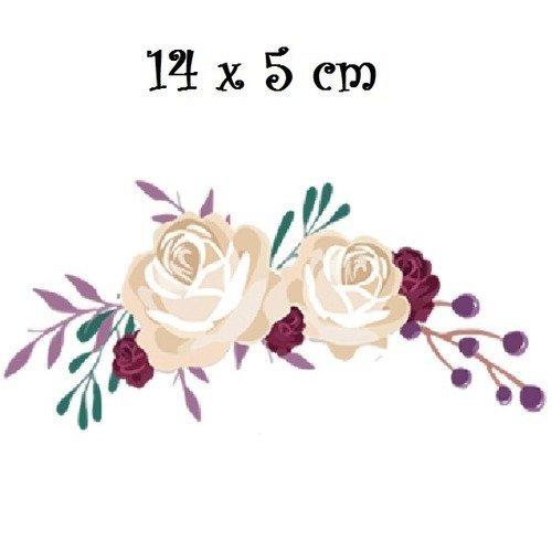 Patch applique, dessin transfert thermocollant, bouquet de fleurs, roses crèmes , 14 x 5 cm, sérigraphie à repasser - t077