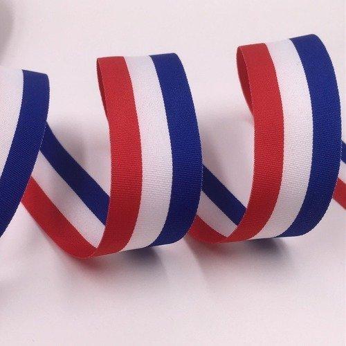 1 mètre  de RUBAN fin  largeur  30 mm tricolore bleu blanc rouge
