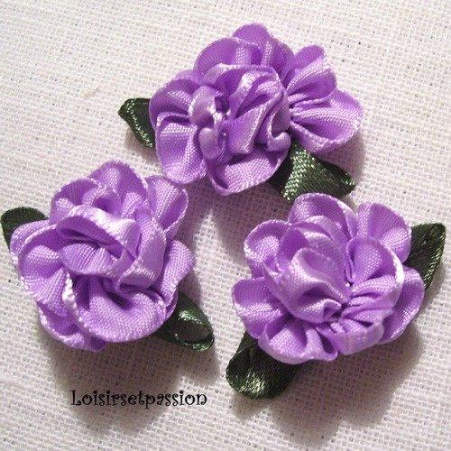 Applique fleur froufrou en ruban satin, parme, feuilles vertes ** 25 mm ** à coudre ou à coller, vendu à l'unité - f03