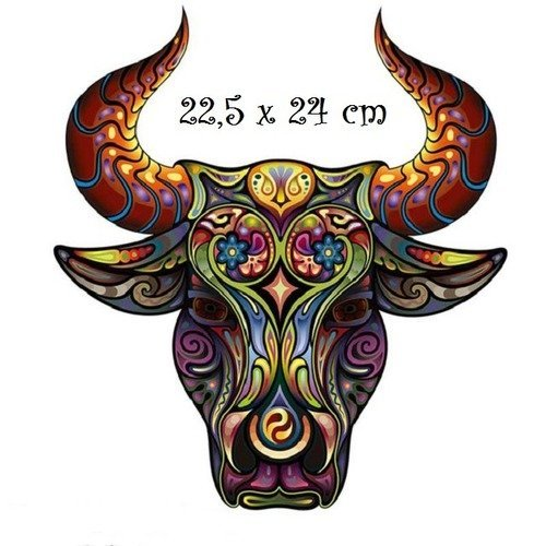 Patch applique, dessin transfert thermocollant, tête taureau bull, 22,5 x 24 cm, sérigraphie à repasser - t991