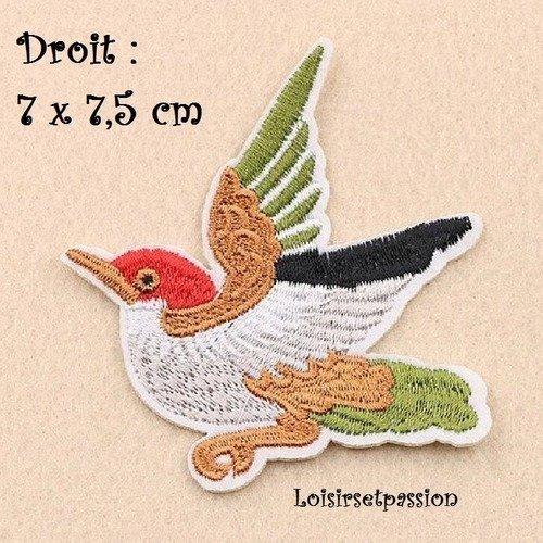 Oiseau moineau ** 7 x 7 cm ** Applique brodée thermocollante ÉCUSSON PATCH