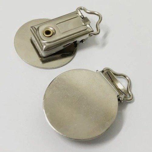 Clip rond passant de 25 mm : Métal Attache tétine doudou Pince ronde