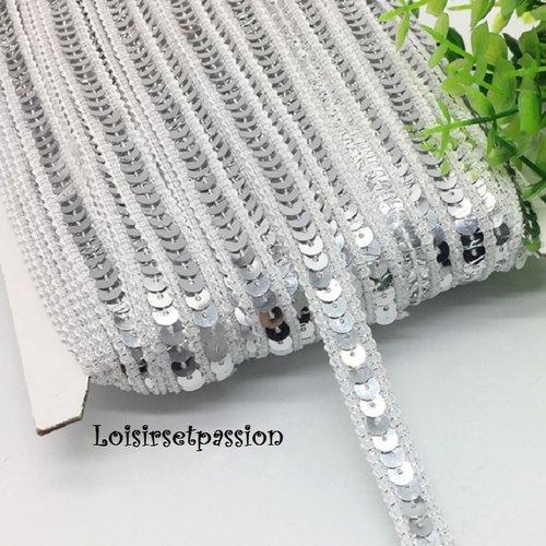 Ruban Blanc irisé vendu au mètre Galon séquin paillette de 25 mm