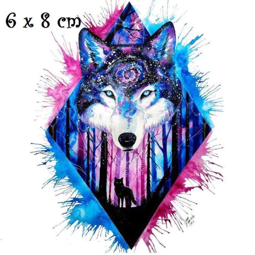 Patch Applique, Dessin Transfert thermocollant, CHIEN LOUP, Losange Ton bleu rose, 6 x 8 cm, sérigraphie à repasser - T125