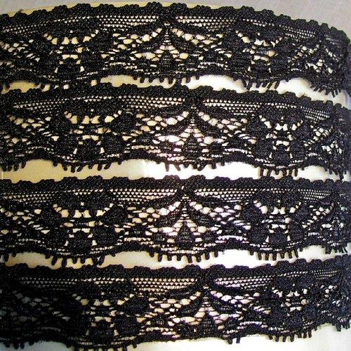 Dentelle lycra élastique, fleurs picot, noir ** 25 mm / 2,5 cm ** vendu au mètre, couture, bandeau, lingerie - d78