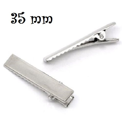 10 PINCES CROCODILE 35x7mm métal argenté clips DIY Déco loisirs