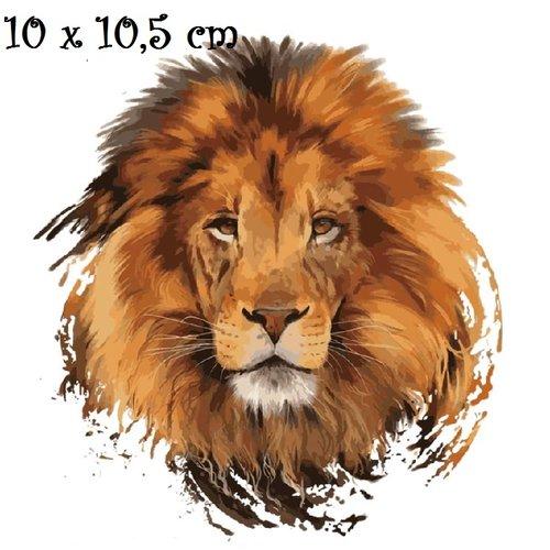 Patch applique, dessin transfert thermocollant, tête de lion ** 10 x 10,5 cm ** sérigraphie à repasser - t959
