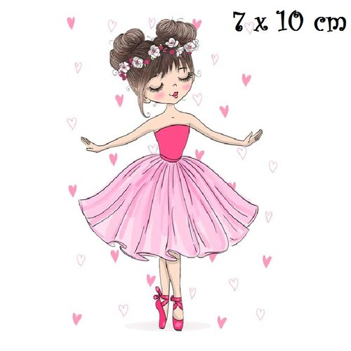 Patch Applique Dessin Transfert Thermocollant Petite Fille Danseuse Coeur Rose 7 X 10 Cm Sérigraphie à Repasser T147