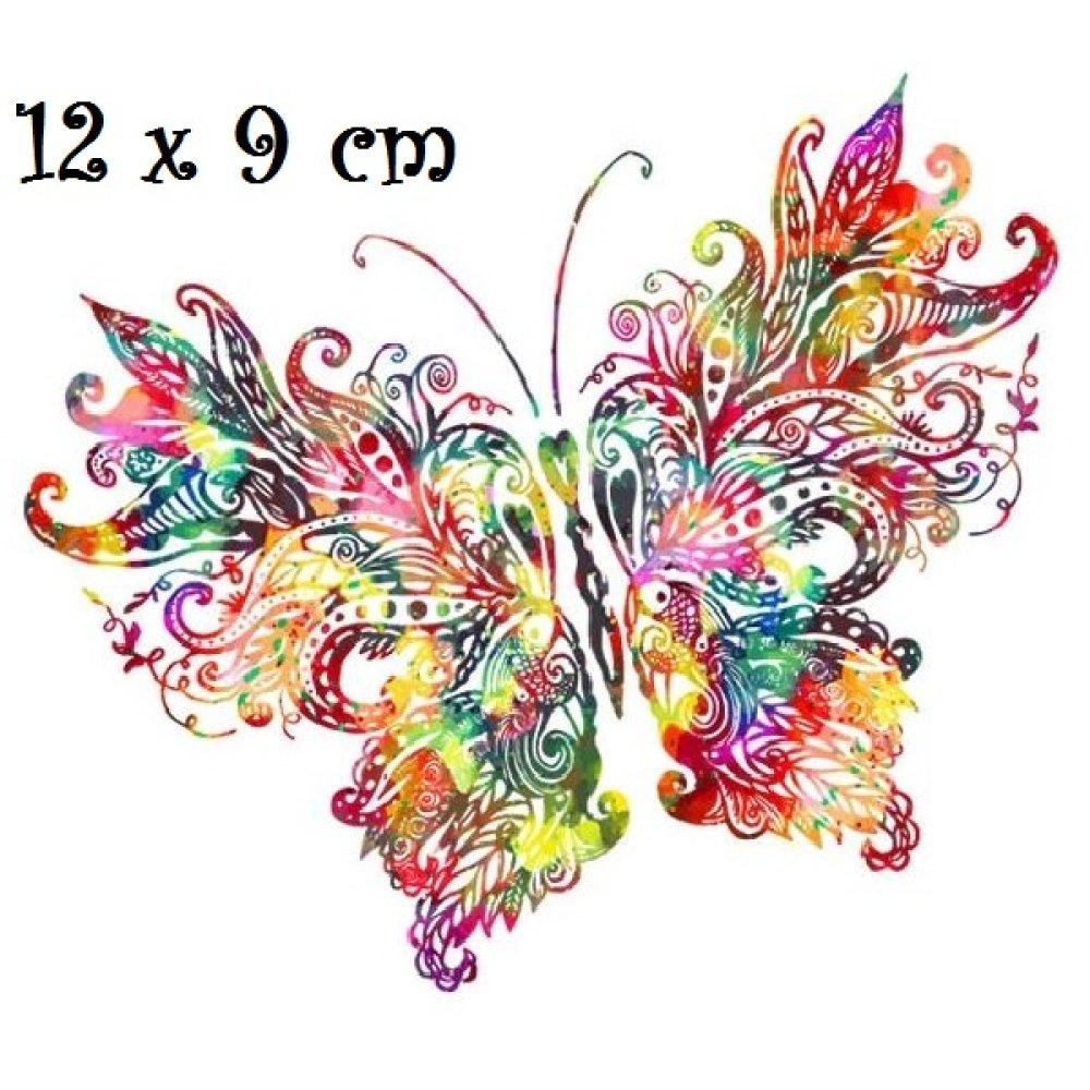 Patch Applique Dessin Transfert Thermocollant Papillon Multicolore Arc En Ciel 12 X 9 Cm Sérigraphie à Repasser T157