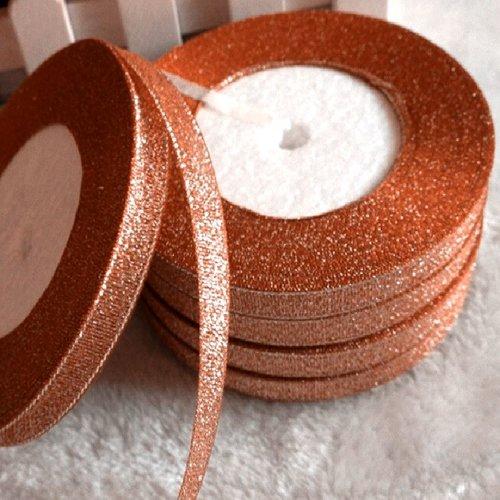 Ruban organza paillette scintillante - 018 / corail argenté ** 10 mm ** lurex glitter - vendu au mètre - fêtes noël carterie