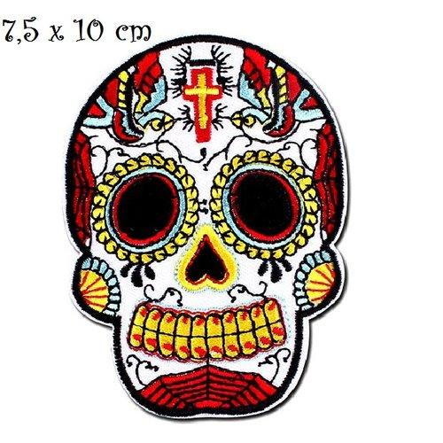 Patch écusson thermocollant - tête de mort, crane croix ton jaune rouge ** 7,5 x 10 cm ** applique à repasser