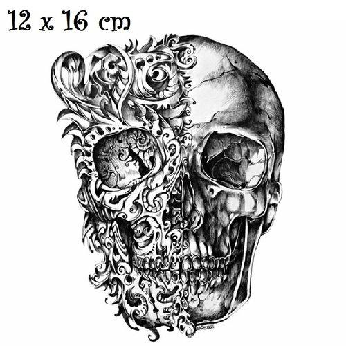 Patch applique, dessin transfert thermocollant, tête de mort, tatouage graffiti ** 12 x 16 cm ** sérigraphie à repasser - t159