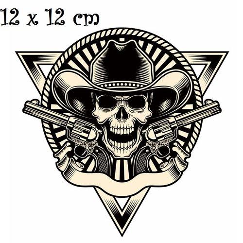 Patch applique, dessin transfert thermocollant, tête de mort, chapeau pistolet ** 12 x 12 cm ** sérigraphie à repasser - t160