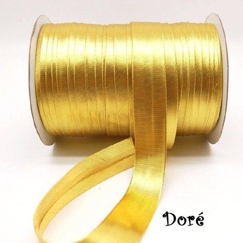 Ruban galon biais plié satiné, doré ** 15 mm ** vendu au mètre