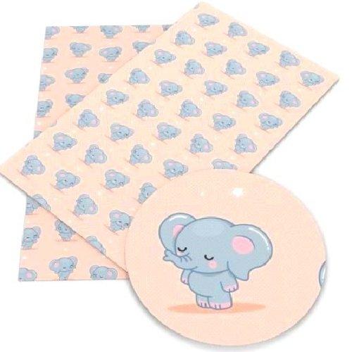Feuille de simili cuir, petit éléphant, ton gris nude ** 20 cm x 34 cm ** pvc imprimé, vendu à l'unité - s003