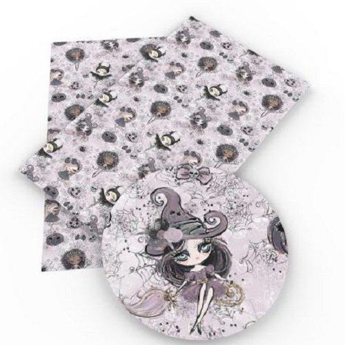 Feuille de simili cuir, fille sorcière halloween, ton crème rosé ** 20 cm x 34 cm ** pvc imprimé, vendu à l'unité - s004