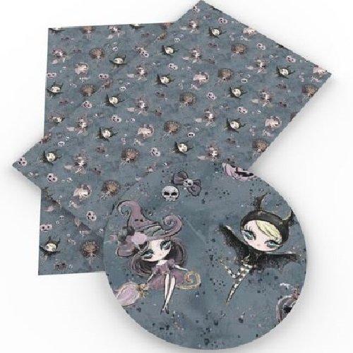 Feuille de simili cuir, fille sorcière halloween, ton gris bleuté ** 20 cm x 34 cm **pvc imprimé, vendu à l'unité - s005