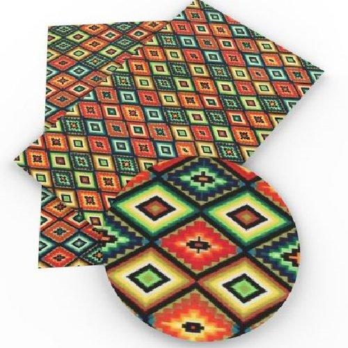Feuille de simili cuir, losanges ethnique, ton marron orangé ** 20 cm x 34 cm ** pvc imprimé, vendu à l'unité - s011
