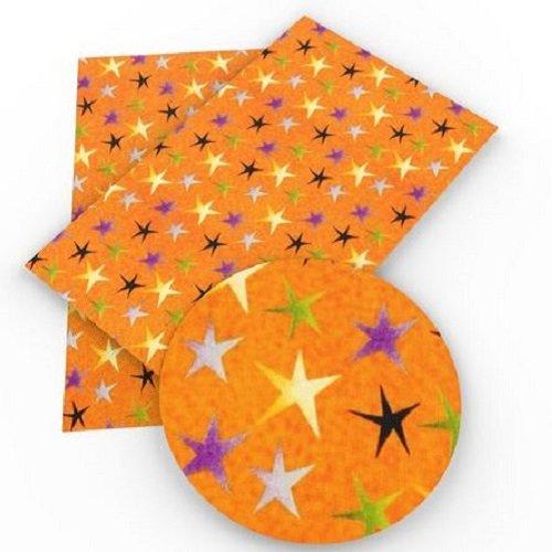 Feuille de simili cuir, étoile, ton orangé ** 20 cm x 34 cm ** pvc imprimé, vendu à l'unité - s013