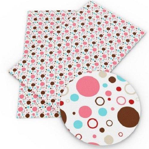Feuille de simili cuir, rond bulle marron rose bleu, fond blanc ** 20 cm x 34 cm ** pvc imprimé, vendu à l'unité - s015