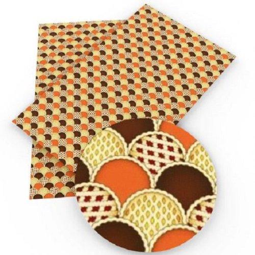 Feuille de simili cuir, écaille demi rond, ton marron beige orangé ** 20 cm x 34 cm ** pvc imprimé, vendu à l'unité - s018