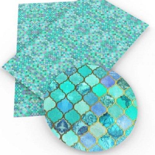 Feuille de simili cuir, mosaïque effet carrelage, ton bleu vert ** 20 cm x 34 cm ** pvc imprimé, vendu à l'unité - s019