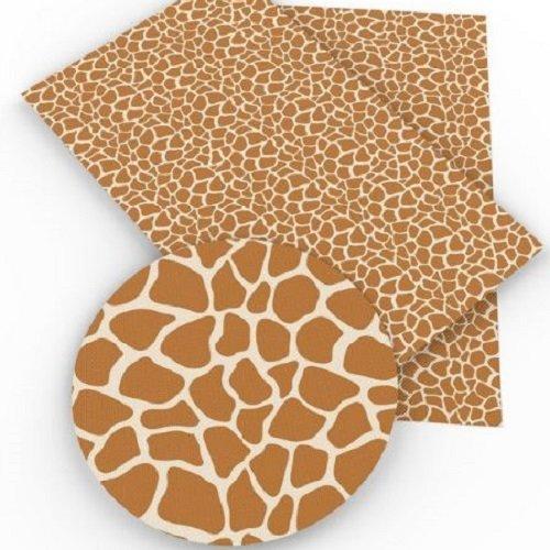 Feuille de simili cuir, animal girafe, ton écru beige ** 20 cm x 34 cm ** pvc imprimé, vendu à l'unité - s022