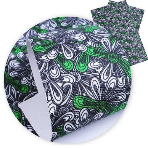 Feuille de simili cuir, fleur naïve, ton vert ** 20 cm x 34 cm ** pvc imprimé, vendu à l'unité - s099
