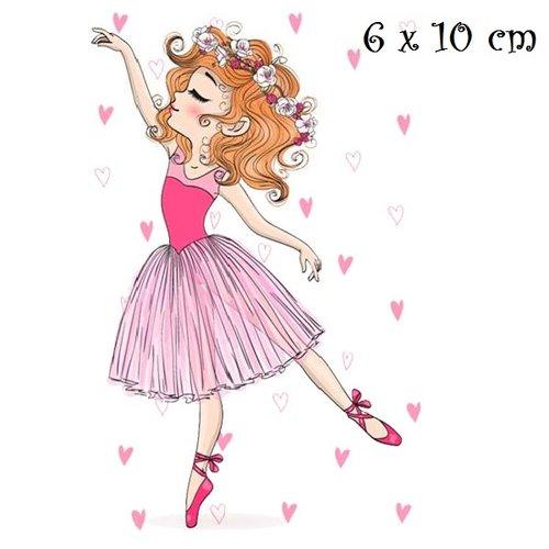 Patch applique, dessin transfert thermocollant, petite fille, danseuse, coeur rose ** 6 x 10 cm ** sérigraphie à repasser - t161