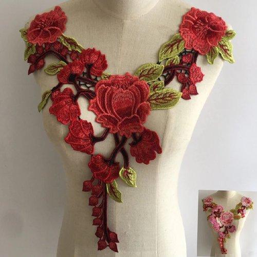 Col dentelle applique guipure fleur / rouge corail ** 36 x 40 cm ** applique à coudre - cd103