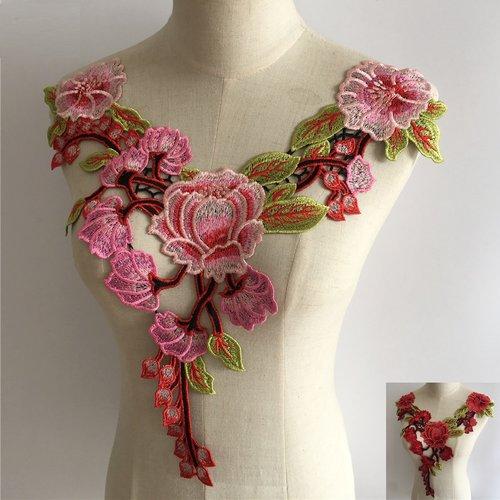 Col dentelle applique guipure fleur / rose ** 36 x 40 cm ** applique à coudre - cd103