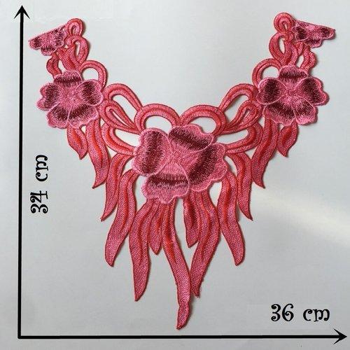 Col dentelle, applique guipure fleur / rose ** 36 x 34 cm ** applique à coudre - cd209