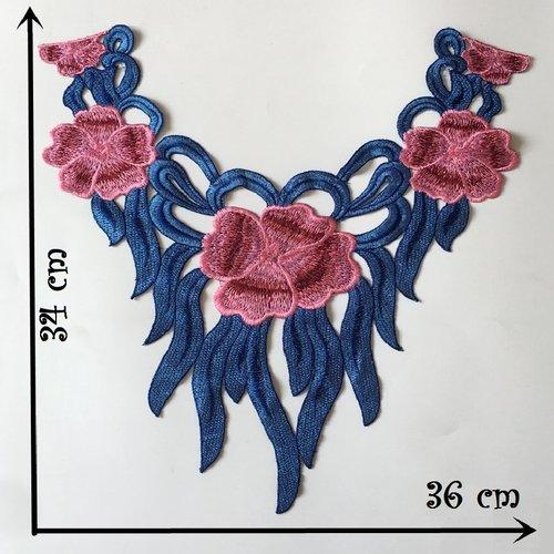 Col dentelle, applique guipure fleur / bleu ** 36 x 34 cm ** applique à coudre - cd209