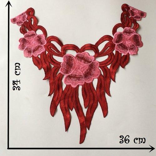 Col dentelle, applique guipure fleur / rouge ** 36 x 34 cm ** applique à coudre - cd209