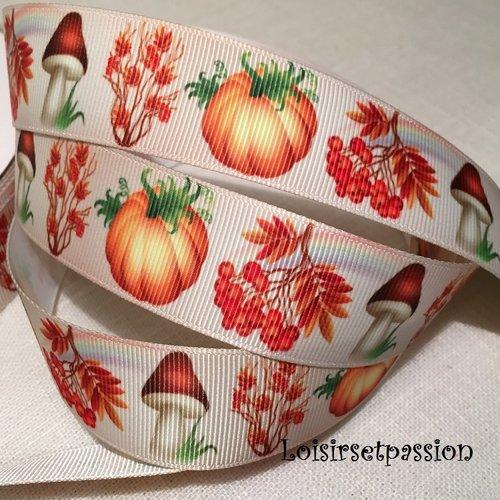 Ruban gros grain imprimé, fruits d'automne, champignons, courge potiron ** 25 mm ** vendu par 50 cm
