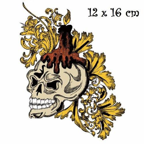 Patch applique, dessin transfert thermocollant, crane tête de mort ** 12 x 16 cm ** sérigraphie à repasser - t168