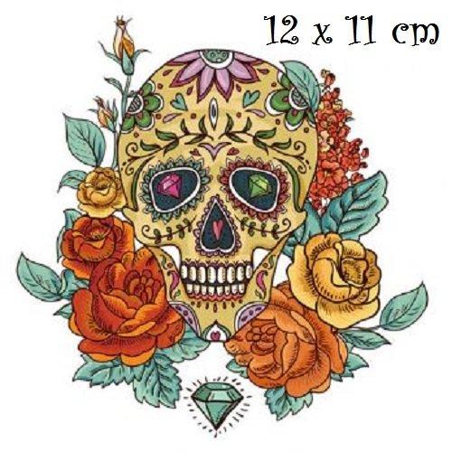 Patch applique, dessin transfert thermocollant, tête de mort, bouquet de fleur ** 12 x 11 cm ** sérigraphie à repasser - t169