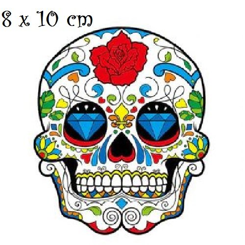 Patch applique, dessin transfert thermocollant, tête de mort, yeux diamant ** 8 x 10 cm ** sérigraphie à repasser - t172