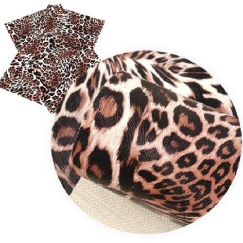 Feuille de simili cuir, motif animal, ton marron ** 20 cm x 34 cm ** pvc imprimé, vendu à l'unité - s028