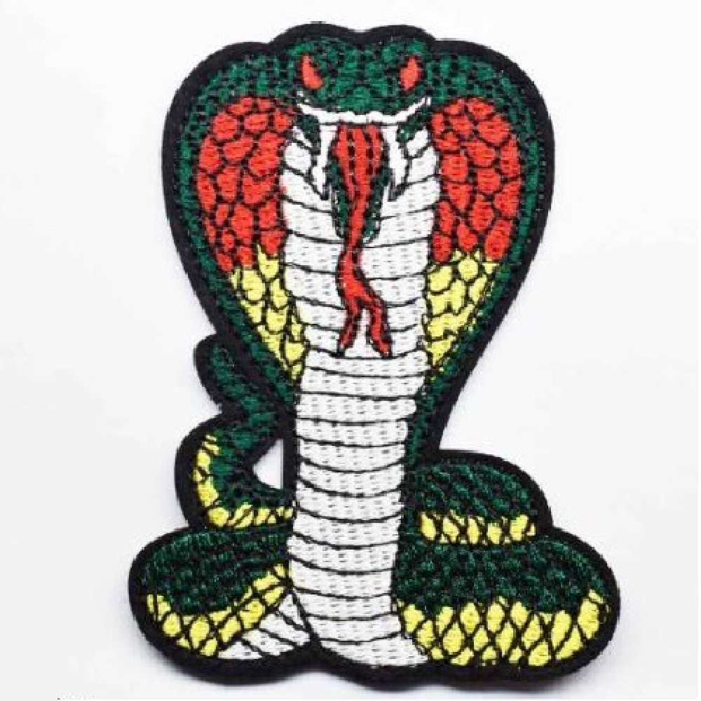 Écusson Patch thermocollant - SERPENT COBRA ** 6 x 8,5 cm ** Applique à repasser