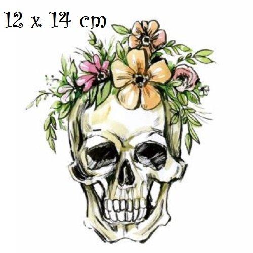 Patch applique, dessin transfert thermocollant, tête de mort, couronne de fleur ** 12 x 14 cm ** sérigraphie à repasser - t174