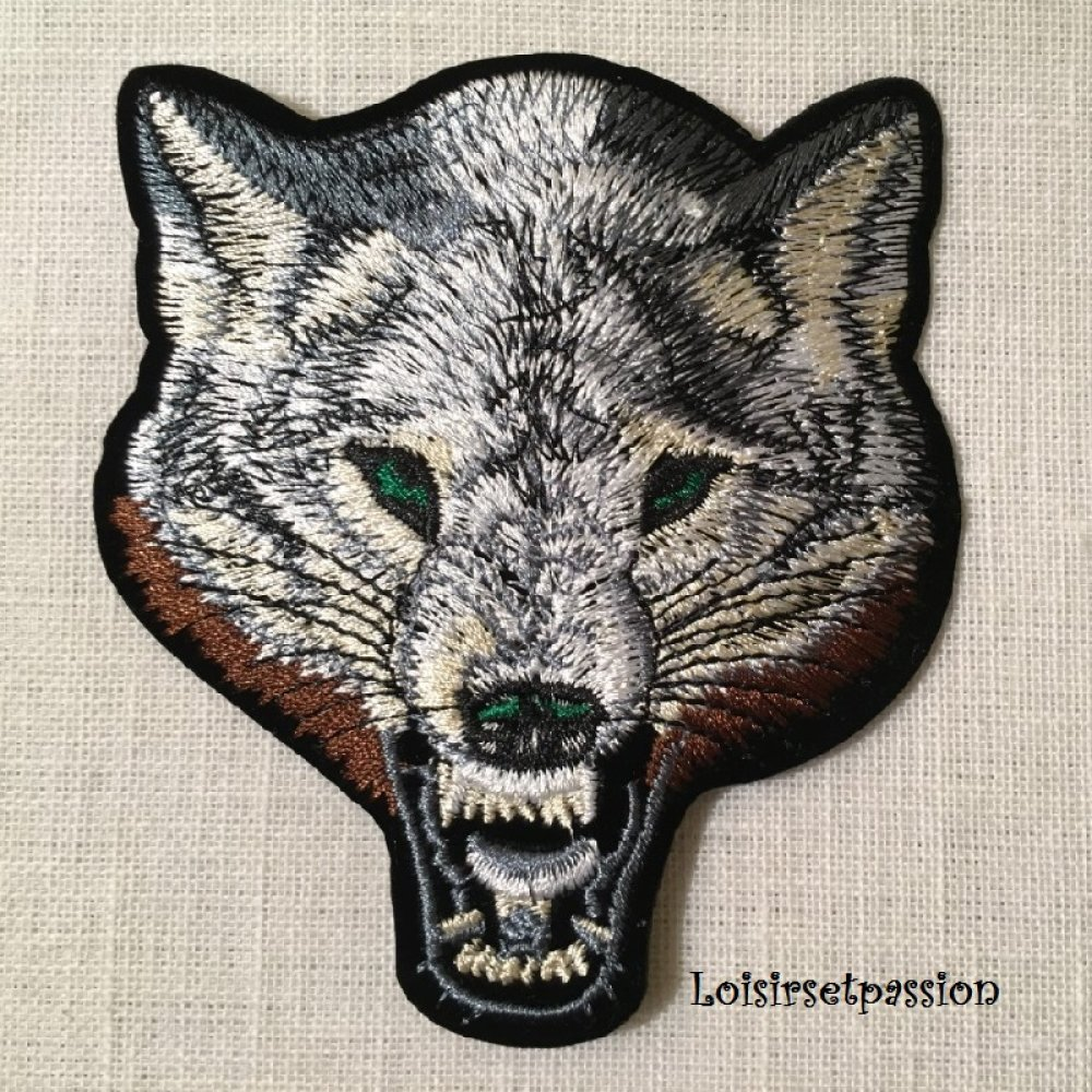 Applique Patch écusson thermocollant - TÊTE de LOUP, Gris beige ** 9 x 9,5 cm ** Applique à repasser