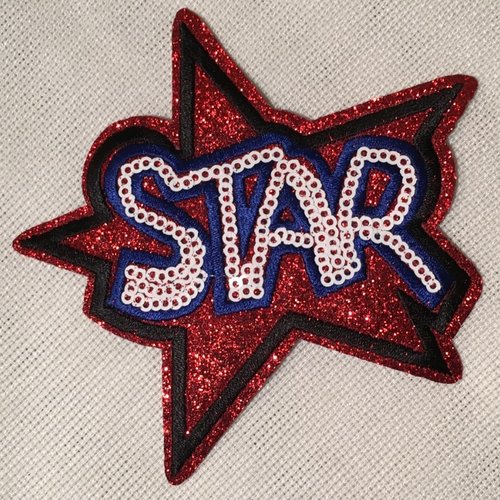 Écusson patch brodé thermocollant - étoile star paillette sequin, bleu blanc rouge ** 10 x 10 cm ** applique à repasser