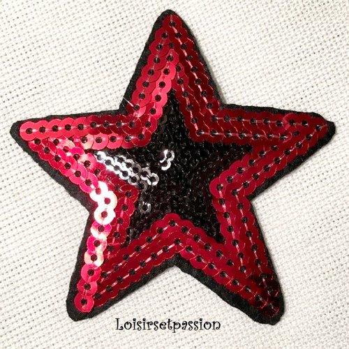 Écusson patch thermocollant - étoile bicolore sequin / rouge noir ** 8 x 8 cm ** applique brodée à repasser
