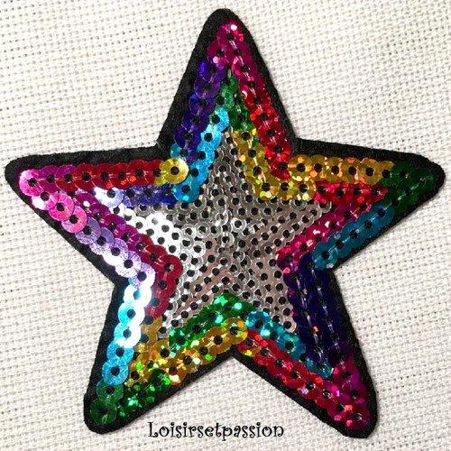 Écusson patch thermocollant - étoile bicolore sequin / multicolore argent ** 8 x 8 cm ** applique brodée à repasser