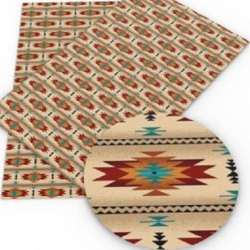 Feuille de simili cuir, motif aztèque, ton rouge beige ** 20 cm x 34 cm ** pvc imprimé, vendu à l'unité - s038