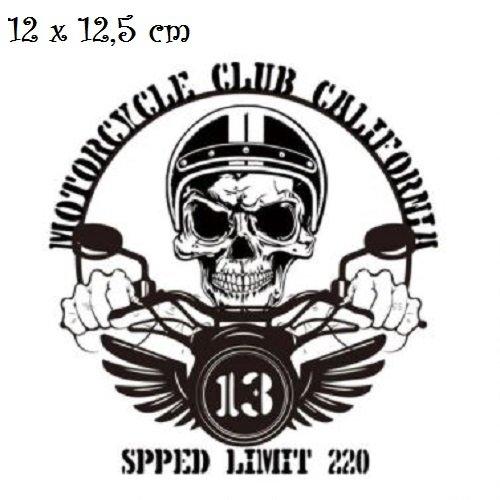 Patch applique, dessin transfert thermocollant, tête de mort, moto ** 12 x 12,5 cm ** sérigraphie à repasser - t194