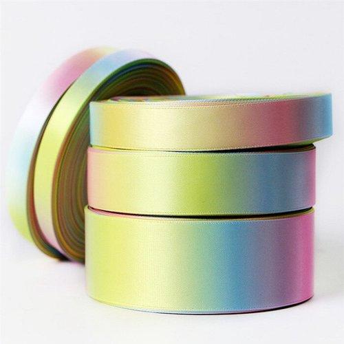Ruban satin, arc en ciel multicolore / pastel - rainbow ** 13 mm ** galon imprimé double face - vendu au mètre